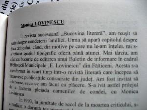 Bucovina Literara nu a admis niciodata publicarea Monicai Lovinescu in paginile ei. Marturie semnata si de dl. Eugen Dimitriu, biograful Lovinestilor
