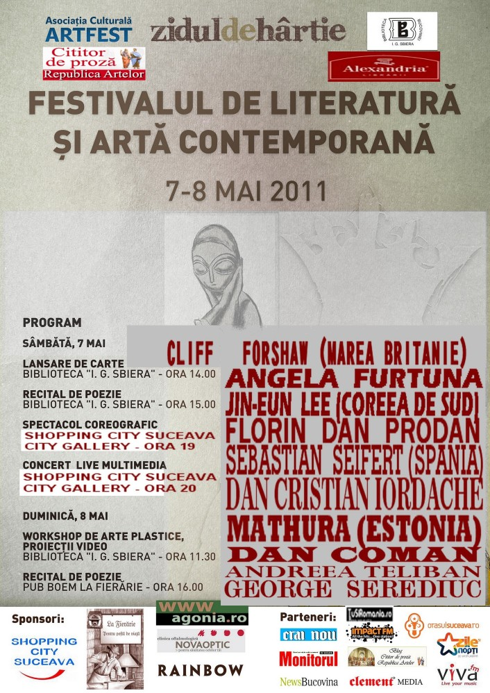 Angela Furtuna PR Festivalul Internaţional de Literatură şi Artă Contemporană 7 şi 8 mai 2011 Suceava