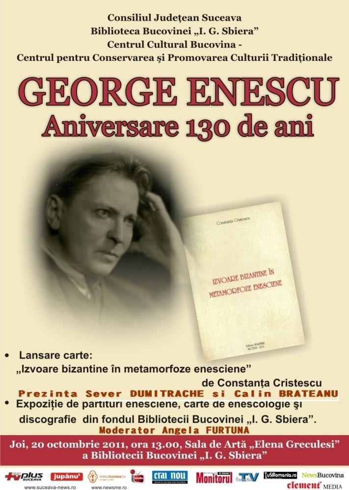 PR Colocviile George Enescu -130 de ani de la nastere - Biblioteca Bucovinei - PR eveniment ANGELA FURTUNA - JOI 20 OCT ORA 13