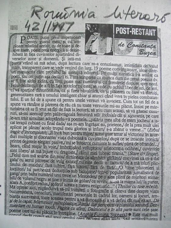 1. Angela Furtuna Debut Pagina Posta Redactiei Romania literara Nr. 42, 1997 Constanta Buzea