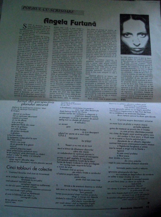 3. Angela Furtuna Debut Pagina Poemul cu Scrisoare Romania literara Nr. 46 din 1997   B