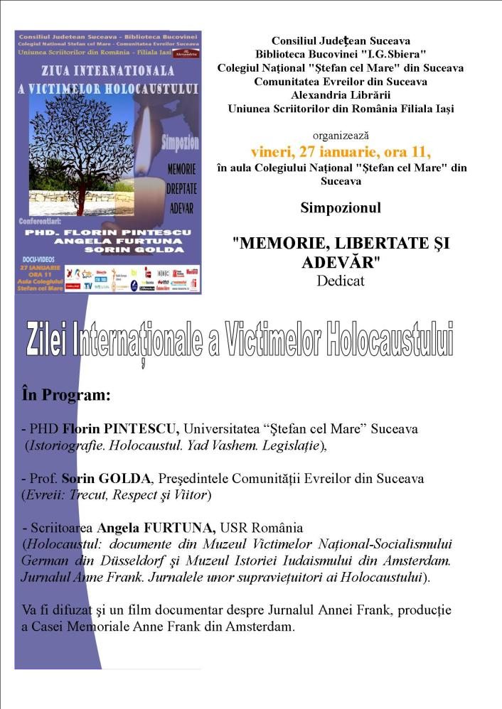 angela furtuna invitatie holocaust memorial day a Suceava 27 ianuarie ora 11