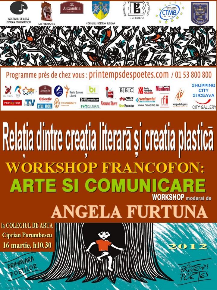ANGELA FURTUNA PR WORKSHOP DE ARTA PLASTICA SI LITERATURA MUZICA FRANCOFONIE 16 MARTIE h 10.30BT