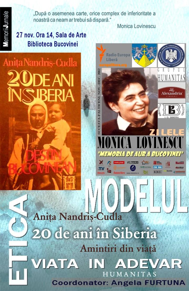 Simpozion MODELUL si ETICA Despre Anita Nandris Cudla 20  de ani in Siberia 27 nov ora 14