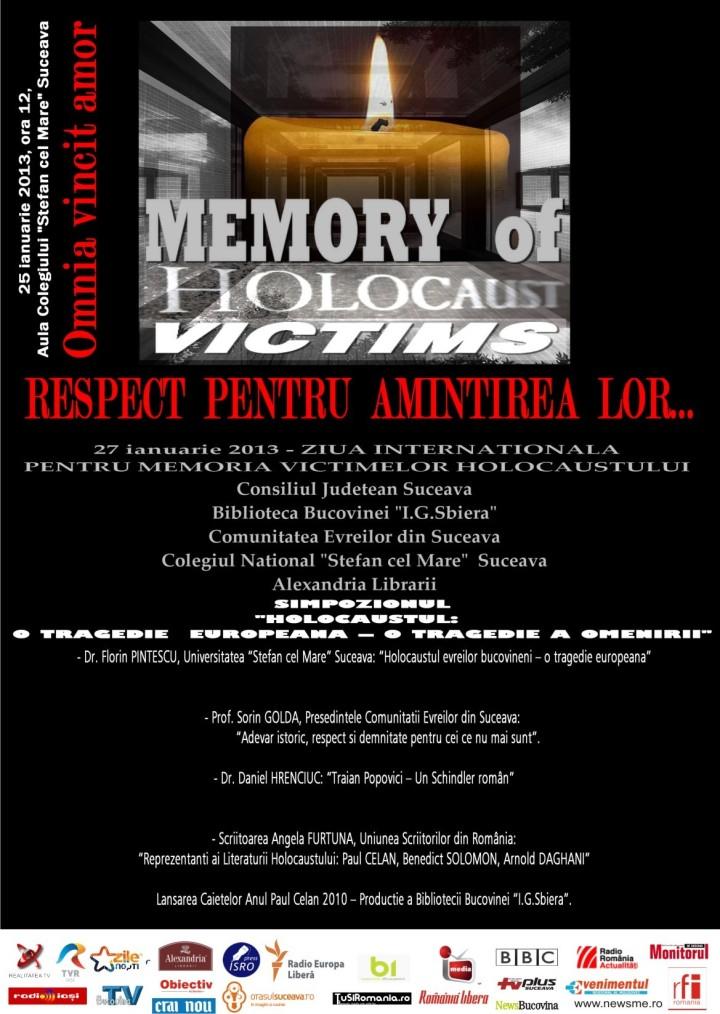 ANGELA FURTUNA AFIS IN MEMORIAM THE VICTIMS OF THE HOLOCAUST SUCEAVA 2013 SIMPOZION DEDICAT ZILEI INTERNATIONALE DE COMEMORARE A VICTIMELOR HOLOCAUSTULUI