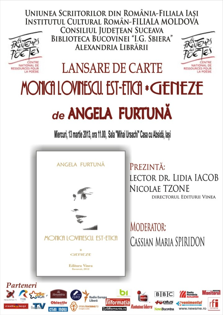 Angela Furtuna: Monica Lovinescu, Est-etica. Vol. I. Geneze. Editura Vinea, Bucureşti, 2012