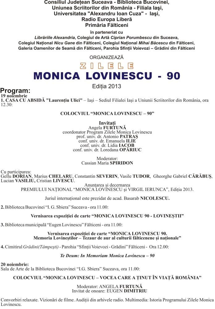 program zilele monica lovinescu 2013 final